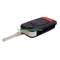 For Benz 3+1 button flip key blank with 2 track bl